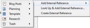 Add Internal References Menu Displayed