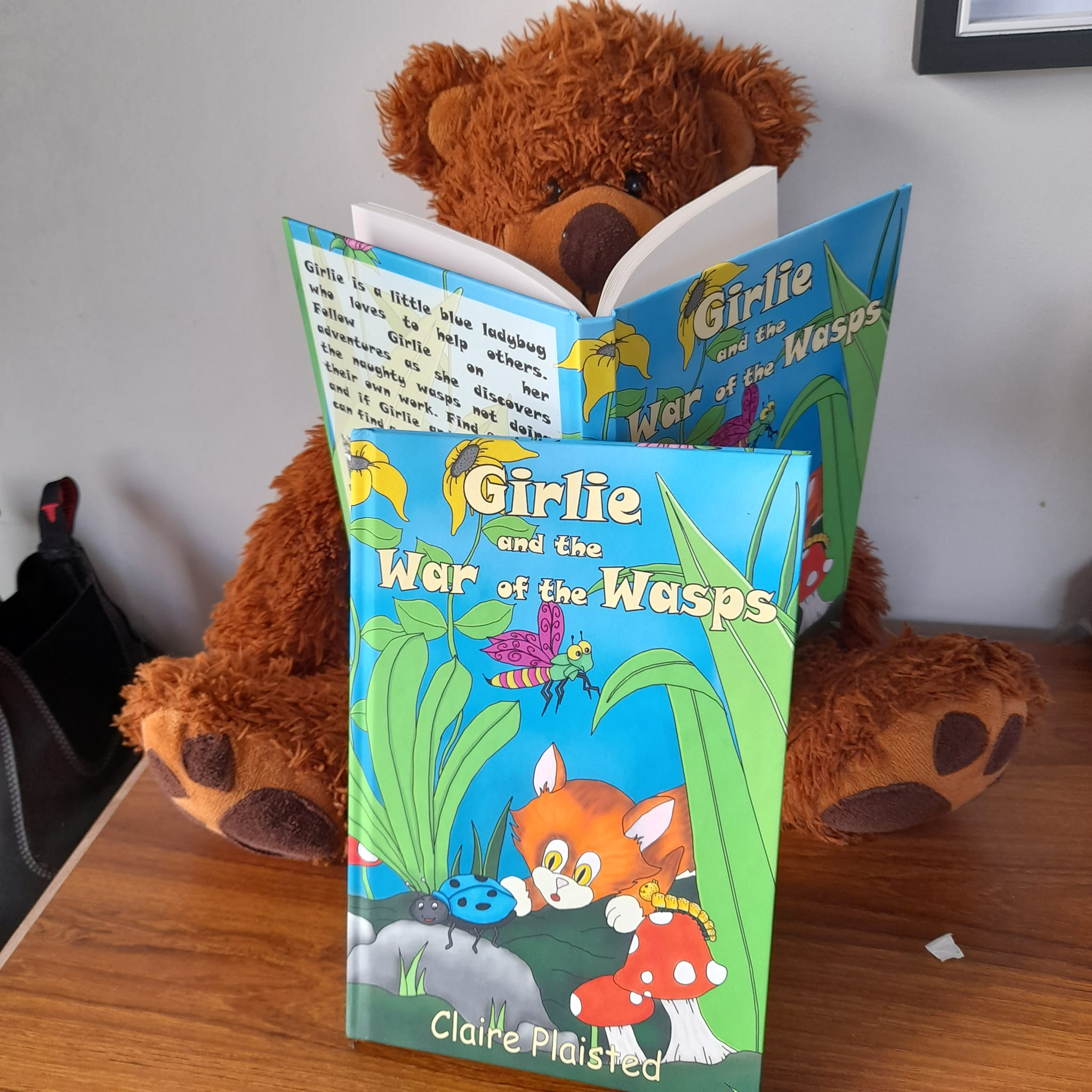 Oxford Bear reading the new hardback book of Girlie and the War of the Wasps